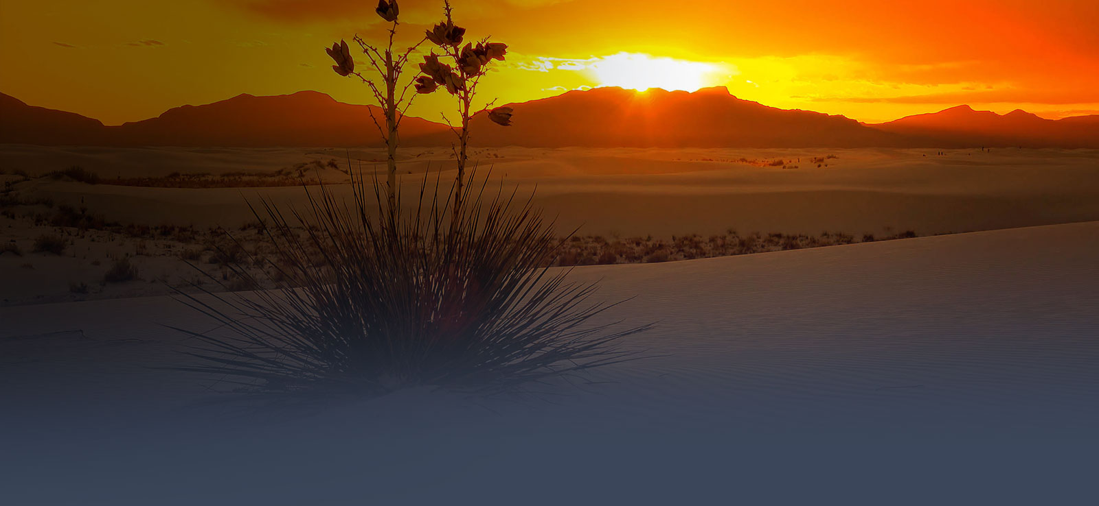 Bright yellow sunset over White Sands